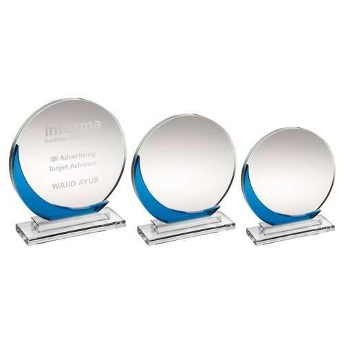 CLEAR GLASS ROUND PLAQUE WITH BLUE ACCENT     (10MM THICK)