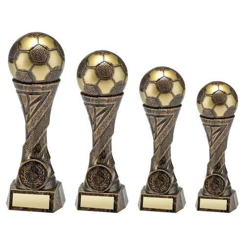 BRONZE/GOLD WEIGHTED PLASTIC FOOTBALL COLUMN TROPHY (1in CENTRE)