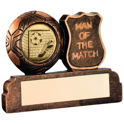 BRZ/GOLD RESIN FOOTBALL 'MAN OF THE MATCH' TROPHY