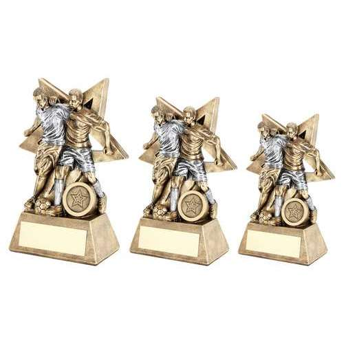 BRZ/PEW MALE DOUBLE FOOTBALL FIGURE WITH STAR BACKING TROPHY (1in CENTRE)