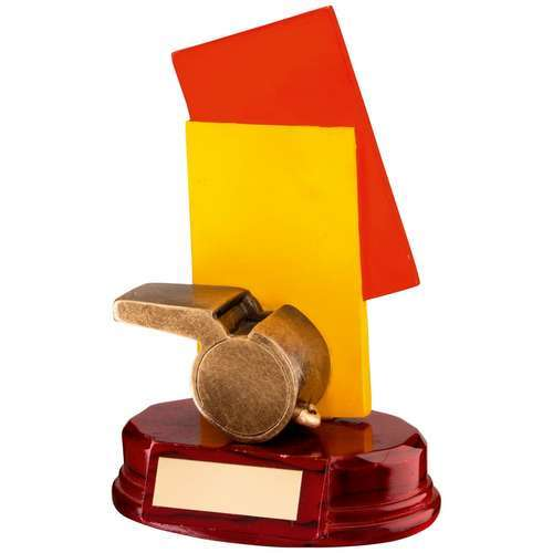BRZ/RED/YELLOW RESIN REFEREE 'CARDS AND WHISTLE' TROPHY