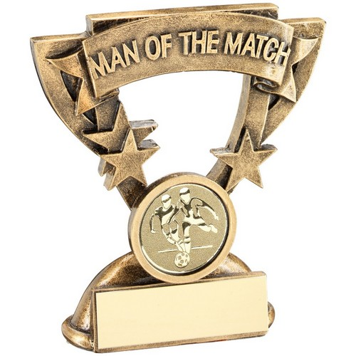 BRZ/GOLD MAN OF THE MATCH MINI CUP WITH FOOTBALL INSERT TROPHY