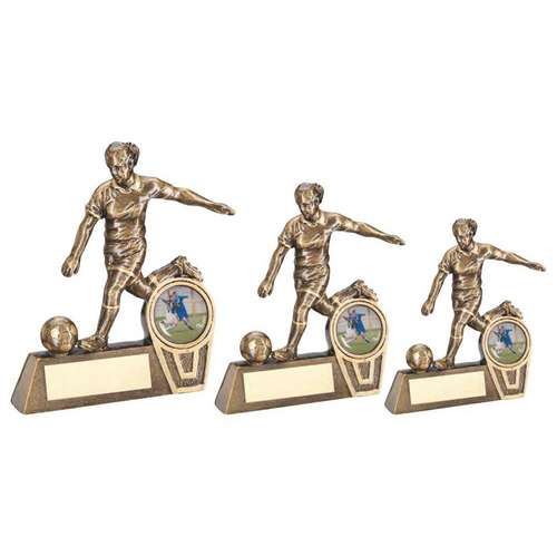BRZ/GOLD MINI FEMALE FOOTBALL FIGURE TROPHY