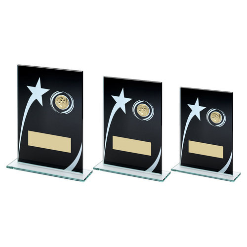 BLK/WHITE PRINTED GLASS PLAQUE WITH FOOTBALL INSERT TROPHY