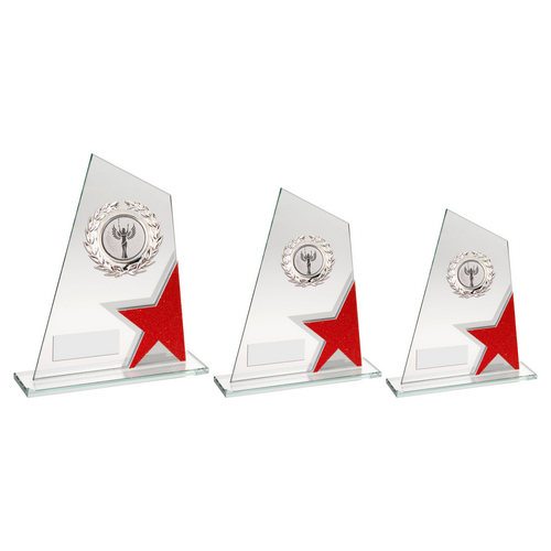 JADE/RED/SILV GLASS PLAQUE WITH SILVER TRIM TROPHY