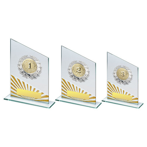 JADE/SILV/GOLD GLASS PLAQUE WITH SILVER TRIM TROPHY