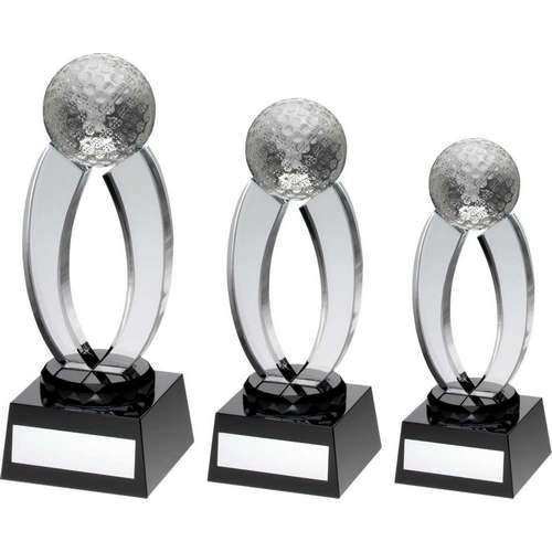 CLEAR/BLACK GLASS GOLF ARCHES TROPHY