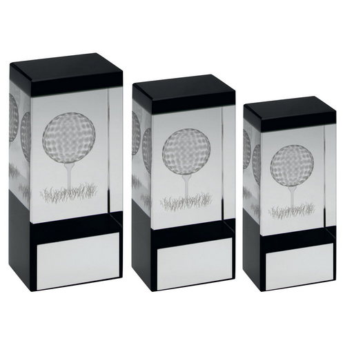 CLEAR/BLACK GLASS BLOCK WITH LASERED GOLF IMAGE TROPHY