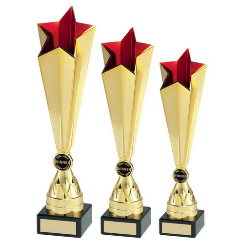 GOLD/RED PLASTIC TALL STAR TROPHY (1in CENTRE)