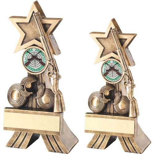 BRZ/GOLD RIFLE AND CLAY SHOOTING STAR TROPHY
