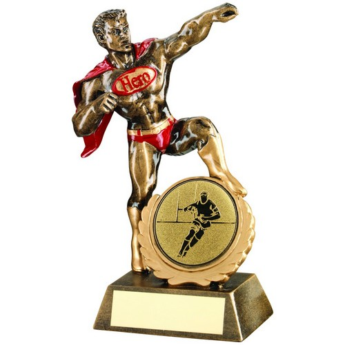 BRZ/GOLD/RED RESIN GENERIC 'HERO' AWARD WITH RUGBY INSERT