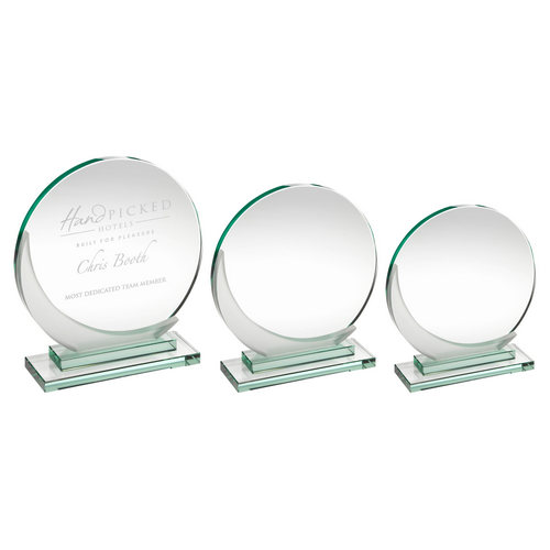 JADE GLASS ROUND PLAQUE WITH FROSTED ACCENT (10MM THICK)