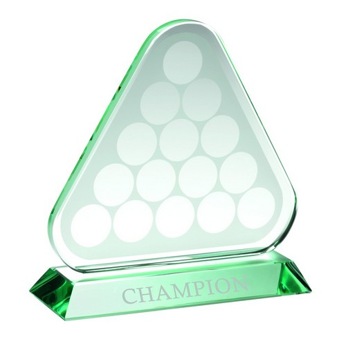 JADE GLASS TRIANGLE PLAQUE WITH POOL/SNOOKER BALLS (10MM THICK)